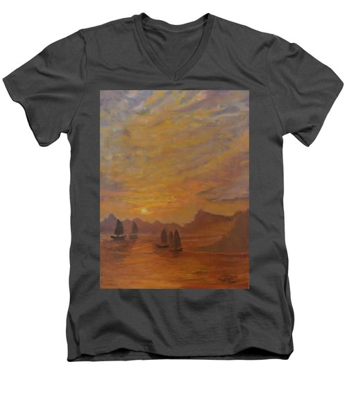 Men's V-Neck T-Shirt featuring the painting Dubrovnik by Julie Todd-Cundiff