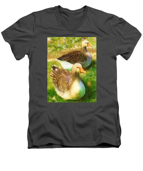 Gandering Geese Men's V-Neck T-Shirt by Ric Darrell