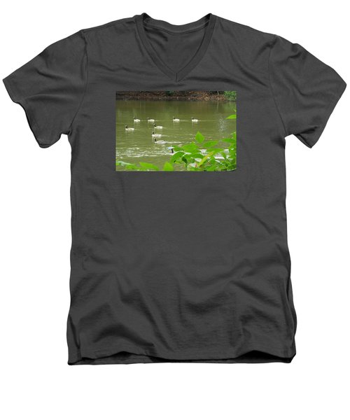 Men's V-Neck T-Shirt featuring the photograph Duck Nation  by Jake Hartz