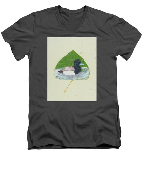 Duck On Pond #2 Men's V-Neck T-Shirt by Ralph Root