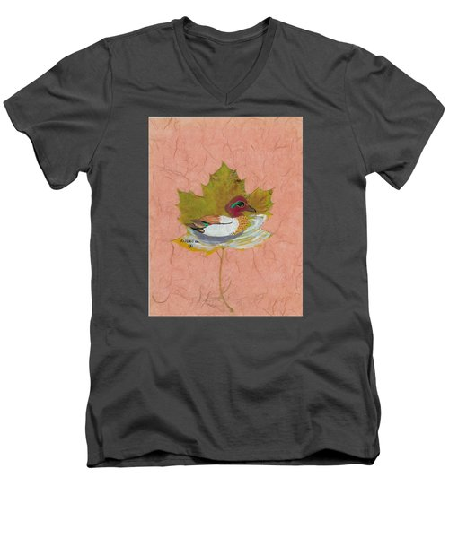 Duck On Pond Men's V-Neck T-Shirt by Ralph Root