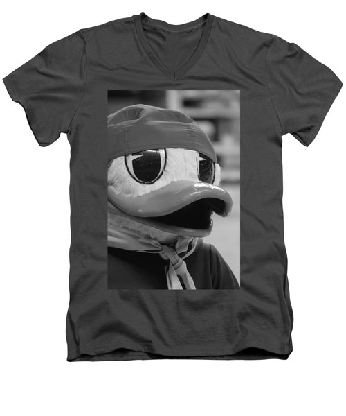 Men's V-Neck T-Shirt featuring the photograph Ducking Around by Laddie Halupa