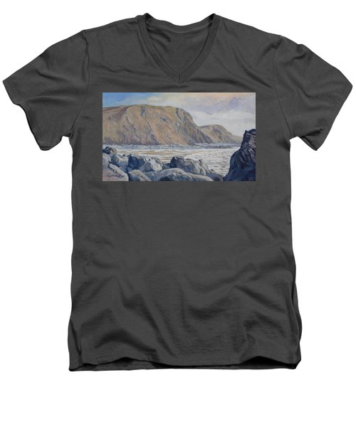 Men's V-Neck T-Shirt featuring the painting Duckpool Boulders by Lawrence Dyer