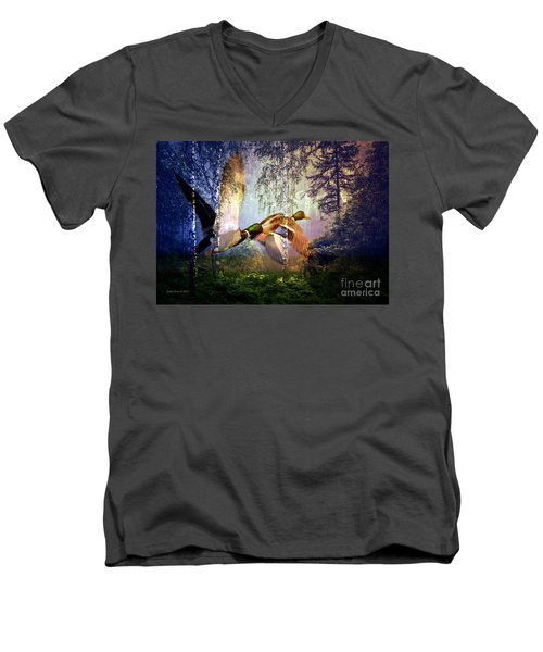 Ducks Flying To The Lake Men's V-Neck T-Shirt