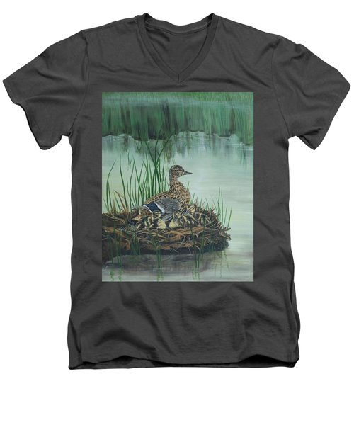 Ducks In Lifting Fog Men's V-Neck T-Shirt