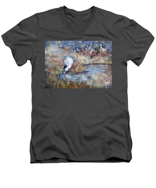 Ducks. Split Opposite Colour Harmony.  Men's V-Neck T-Shirt