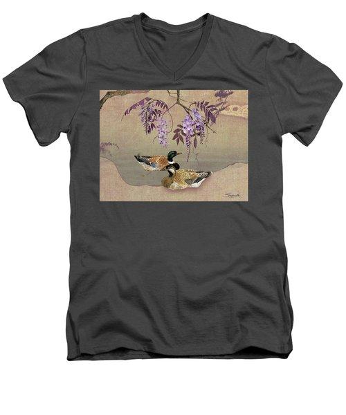 Ducks Under Wisteria Tree Men's V-Neck T-Shirt