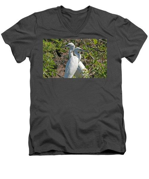 Dueling Egrets Men's V-Neck T-Shirt