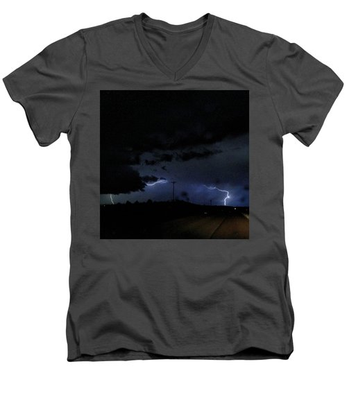 Dueling Lightning Bolts Men's V-Neck T-Shirt