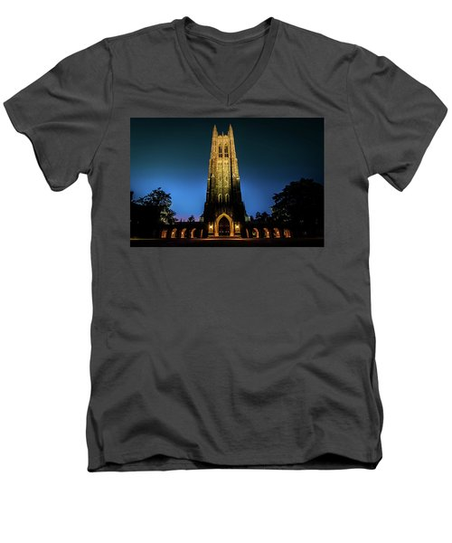 Duke Chapel Lit Up Men's V-Neck T-Shirt