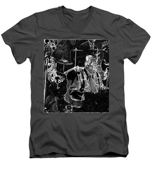 Men's V-Neck T-Shirt featuring the mixed media Duke Ellington by Charles Shoup