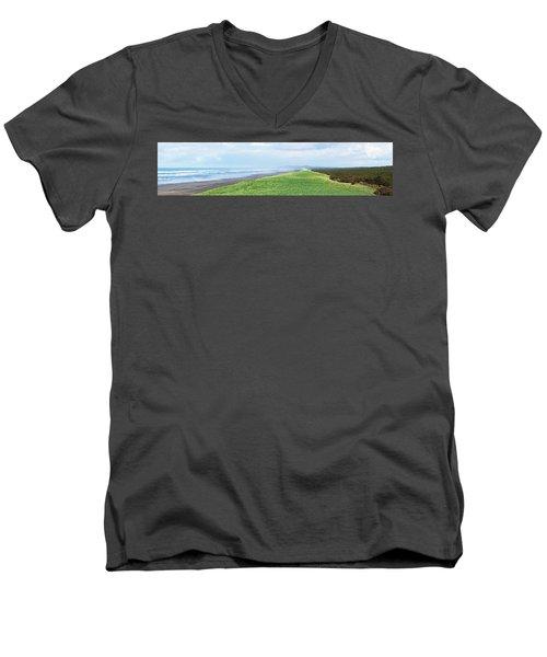 Dune At Fort Stevens Men's V-Neck T-Shirt by Angi Parks