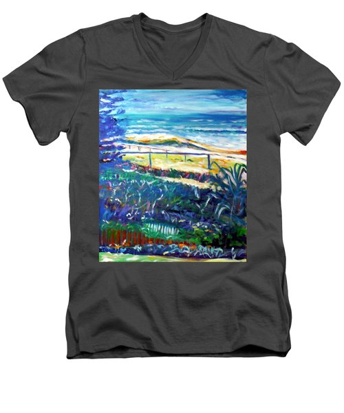 Men's V-Neck T-Shirt featuring the painting Dune Grasses by Winsome Gunning