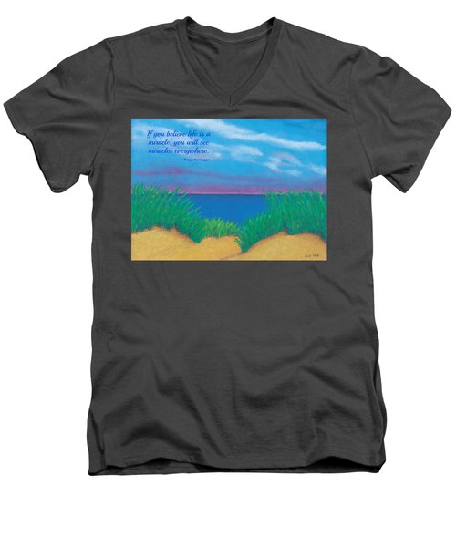 Dunes At Dawn - With Quote Men's V-Neck T-Shirt
