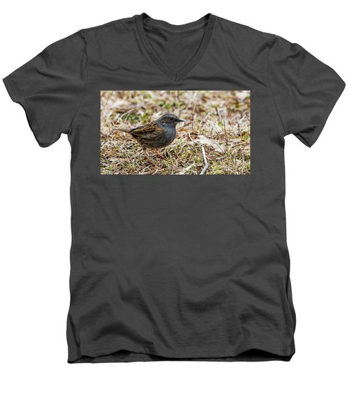 Men's V-Neck T-Shirt featuring the photograph Dunnock by Torbjorn Swenelius