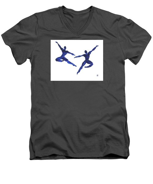 Duo Leap Blue Men's V-Neck T-Shirt by Shungaboy X
