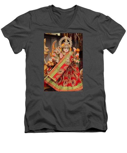 Durga In Madho Bhag, Mumbai Men's V-Neck T-Shirt by Jennifer Mazzucco