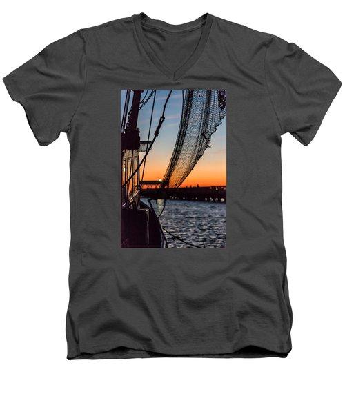 Dusk At Shem Creek Pier In Mt. Pleasant, Sc Men's V-Neck T-Shirt