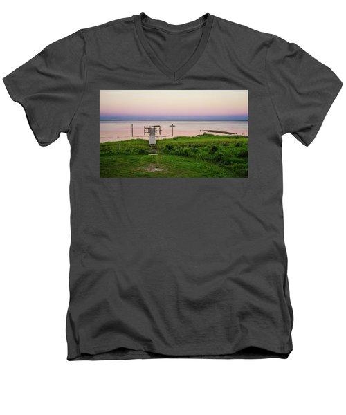 Dusk At Battle Point, Accomac, Virginia Men's V-Neck T-Shirt
