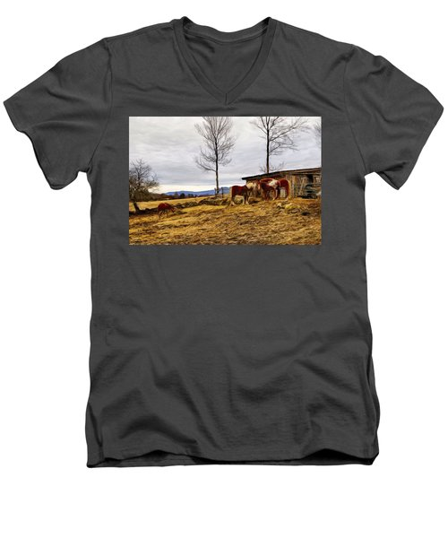 Dusk Feeding On The Farm Men's V-Neck T-Shirt