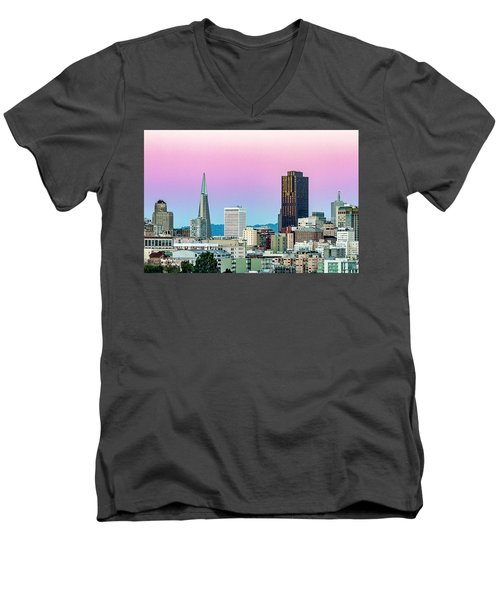 Men's V-Neck T-Shirt featuring the photograph Dusk In San Francisco by Bill Gallagher
