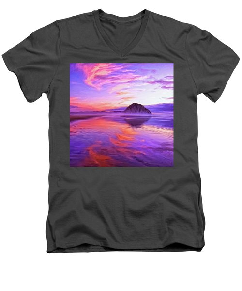Dusk On The Morro Strand Men's V-Neck T-Shirt