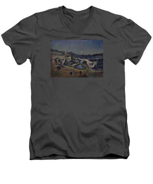 Dusk Over The Sint Pietersberg Men's V-Neck T-Shirt by Nop Briex