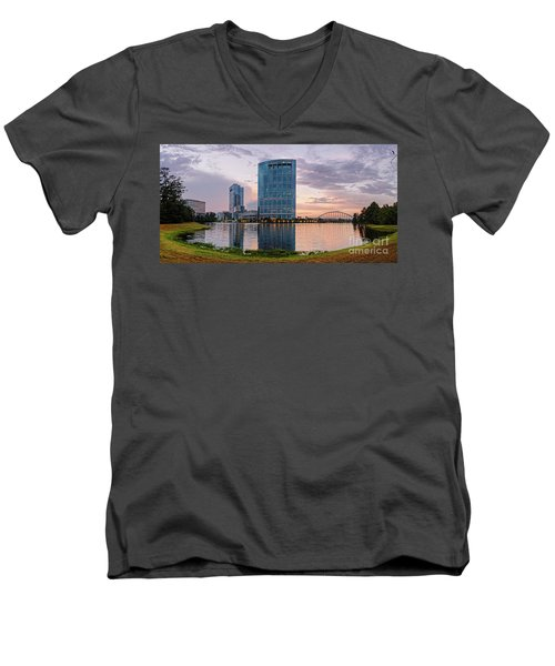 Dusk Panorama Of The Woodlands Waterway And Anadarko Petroleum Towers - The Woodlands Texas Men's V-Neck T-Shirt