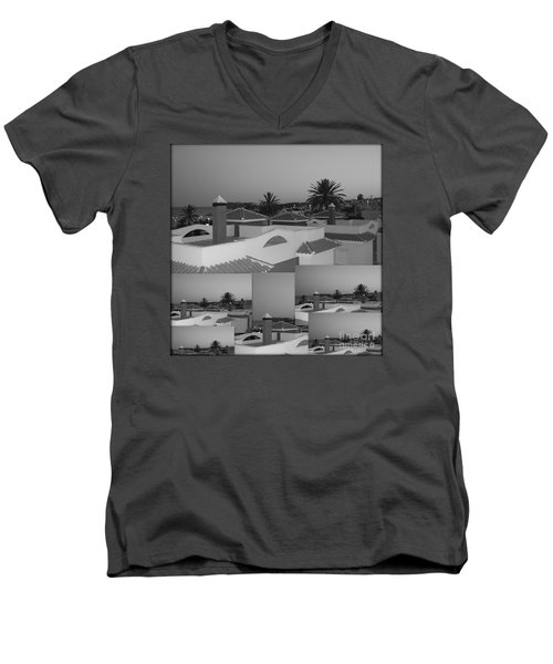 Men's V-Neck T-Shirt featuring the photograph Dusky Rooftops by Linda Prewer