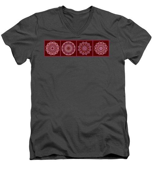 Dusty Rose Mandala Fractal Panel Men's V-Neck T-Shirt