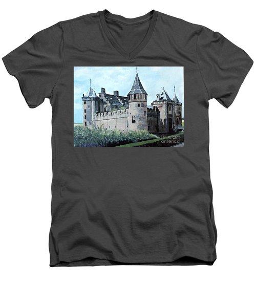 Dutch Castle In Muiden Men's V-Neck T-Shirt by Francine Heykoop