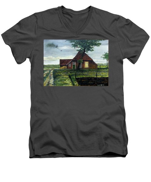 Dutch Farm At Dusk Men's V-Neck T-Shirt