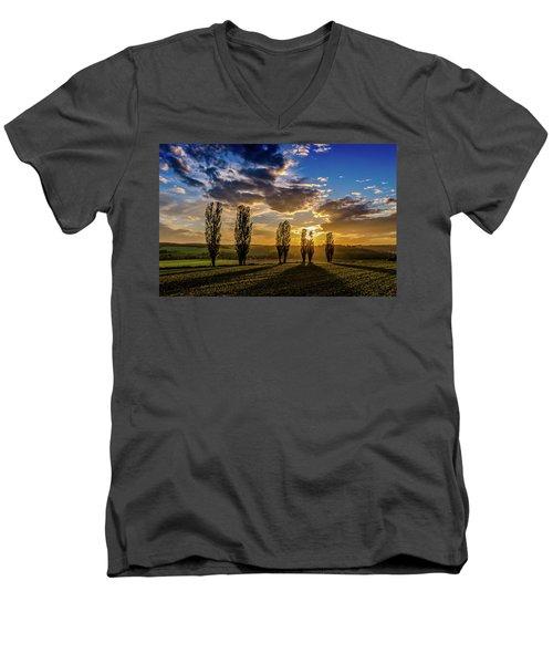 Dutch Moutains At Sunset Men's V-Neck T-Shirt by Rainer Kersten