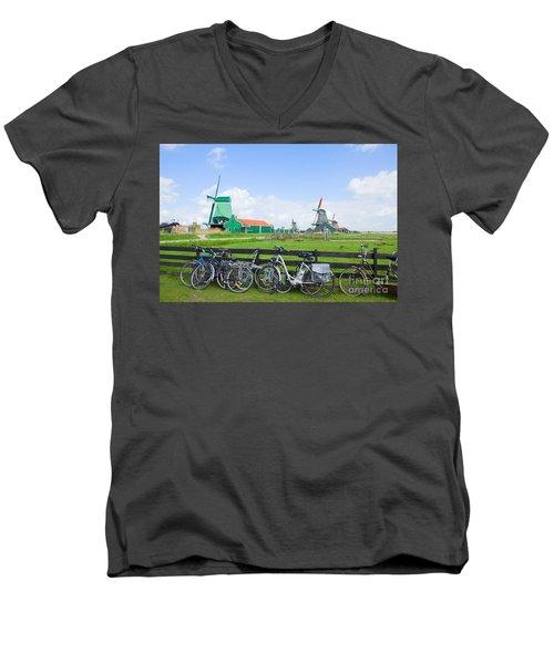 dutch windmills with bikes in Zaanse Schans Men's V-Neck T-Shirt by Anastasy Yarmolovich