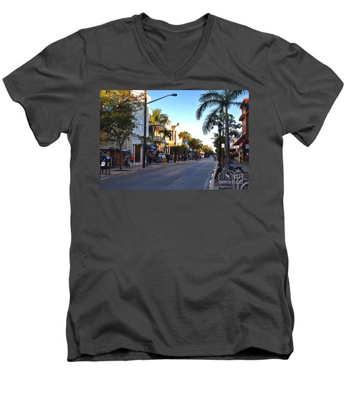 Duval Street In Key West Men's V-Neck T-Shirt