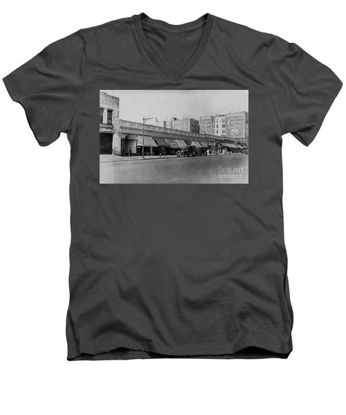 Men's V-Neck T-Shirt featuring the photograph Dyckman Street, 1927 by Cole Thompson