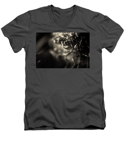 Faded Chrysanthemum Flower Abstract Print Men's V-Neck T-Shirt