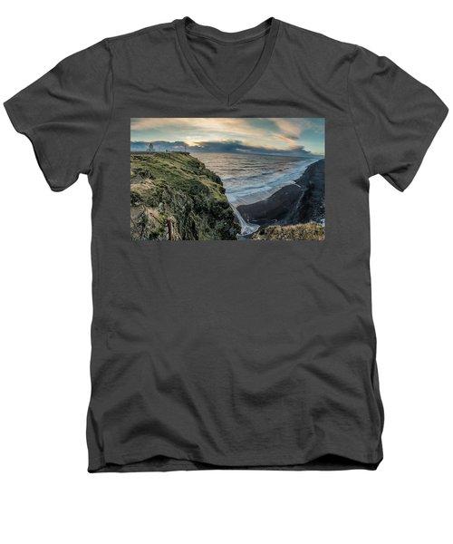 Men's V-Neck T-Shirt featuring the photograph Dyrholaey Light House by Allen Biedrzycki