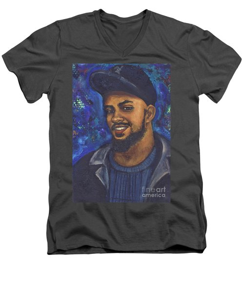Men's V-Neck T-Shirt featuring the painting E by Alga Washington