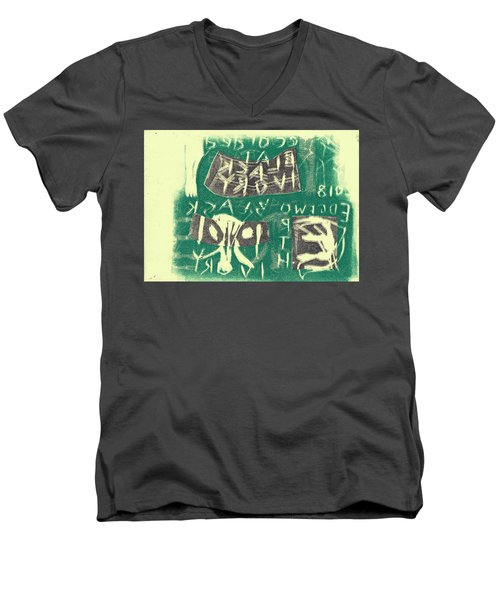E Cd Grey And Green Men's V-Neck T-Shirt