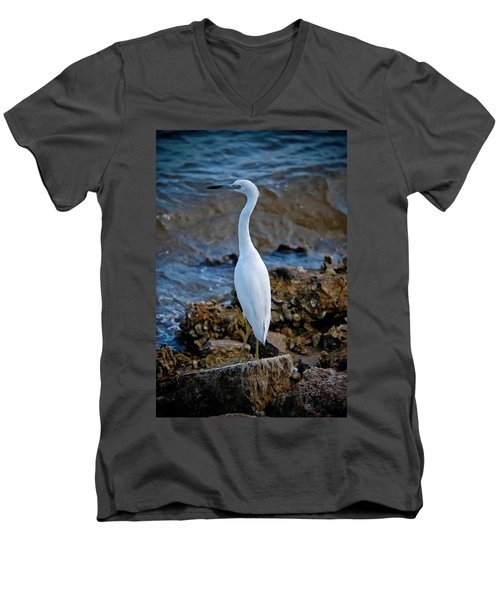 Eager Egret Men's V-Neck T-Shirt by DigiArt Diaries by Vicky B Fuller