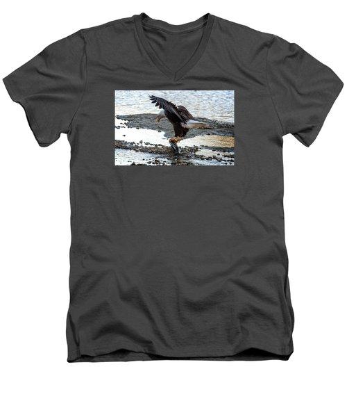 Eagle Dinner Men's V-Neck T-Shirt by Sabine Edrissi