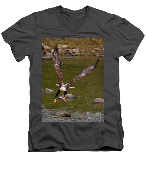 Men's V-Neck T-Shirt featuring the photograph Eagle Fying With Fish by Debbie Stahre