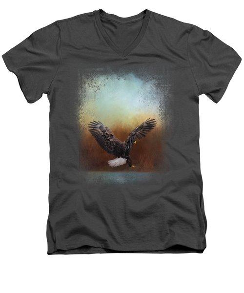 Eagle Hunting In The Marsh Men's V-Neck T-Shirt