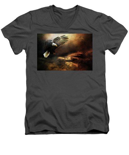 Eagle Is Landing Men's V-Neck T-Shirt