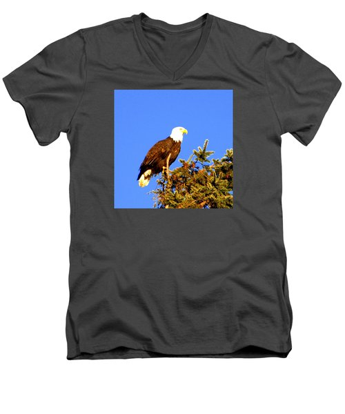 Men's V-Neck T-Shirt featuring the photograph Eagle by Jerry Cahill