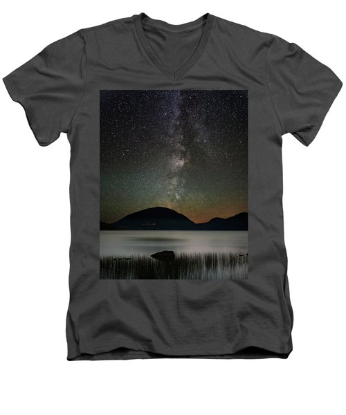 Eagle Lake And The Milky Way Men's V-Neck T-Shirt