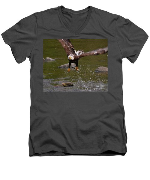 Men's V-Neck T-Shirt featuring the photograph Eagle Over Seal Rock by Debbie Stahre