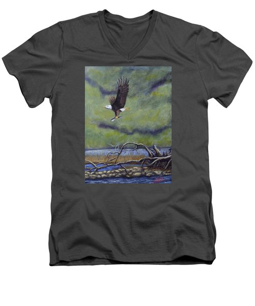 Men's V-Neck T-Shirt featuring the painting Eagle River by Dan Wagner