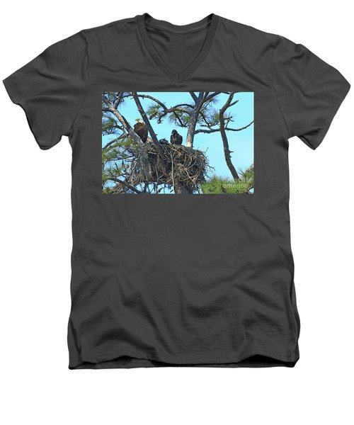 Men's V-Neck T-Shirt featuring the photograph Eagle Series Baby by Deborah Benoit